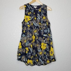 Umgee Floral Print Sleeveless Flowy Mini Dress S